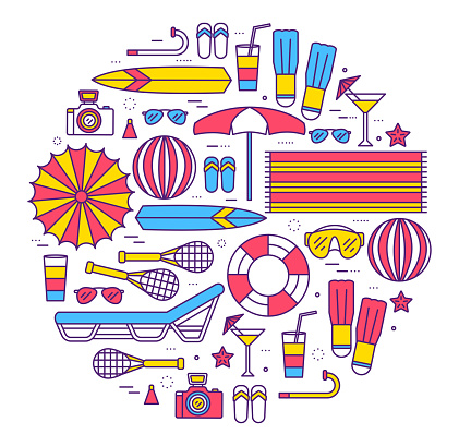 Summer vacation circle concept in thin lines style design
