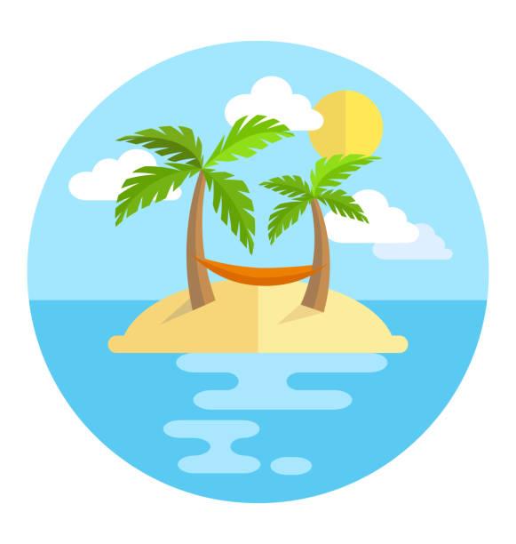 bildbanksillustrationer, clip art samt tecknat material och ikoner med summer vacation circle icon island with palms sun and hammock - ö