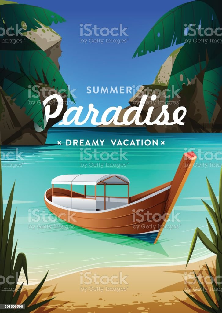 Summer vacation concept background vector art illustration