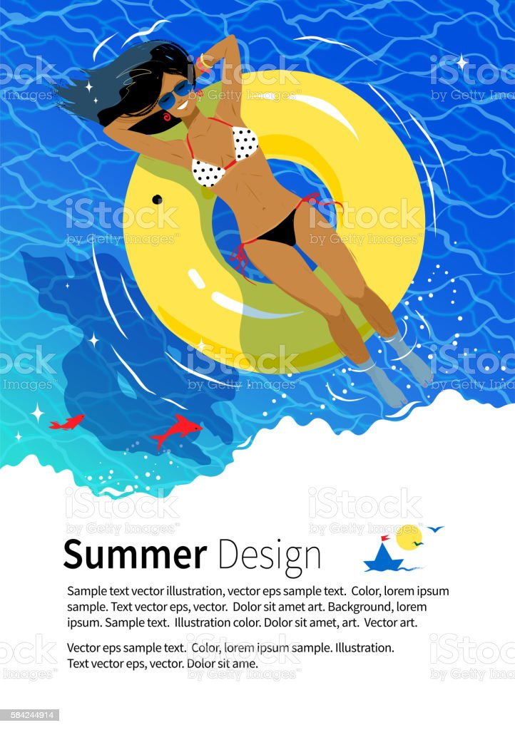 Summer vacation flyer design vector art illustration