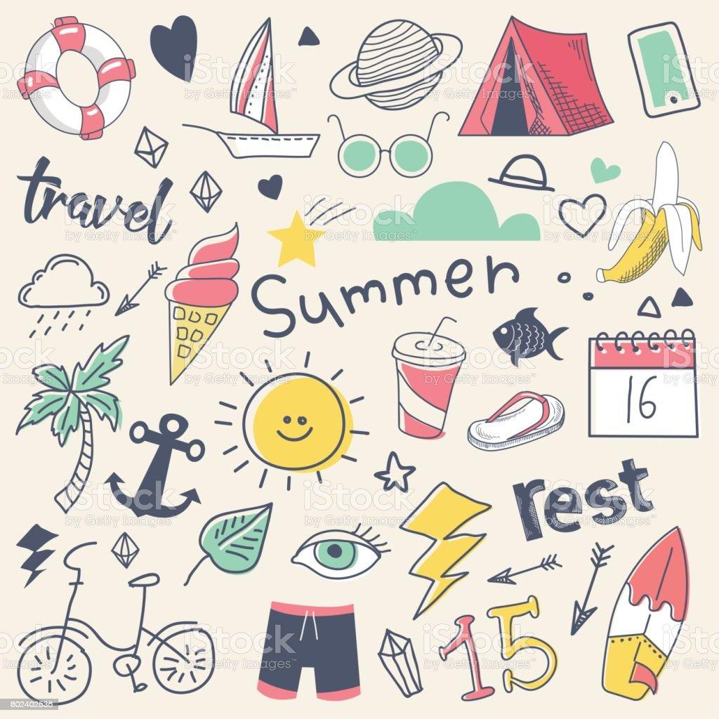 Doodle de mão livre mão desenhada as férias de verão com sol, Surf e Camp vetores de doodle de mão livre mão desenhada as férias de verão com sol surf e camp e mais imagens de acampar royalty-free