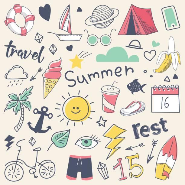 illustrations, cliparts, dessins animés et icônes de vacances d'été dessinés à la main à la volée doodle avec soleil, surf et camp - boisson et alimentation de bande dessinée