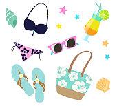 Summer vacation icon set -Beach image-