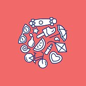Summer vector line illustration. Circle set of symbols