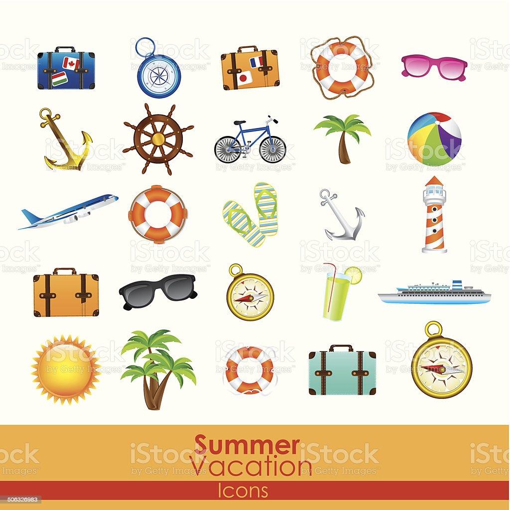 summer vacation icons royalty-free stock vector art