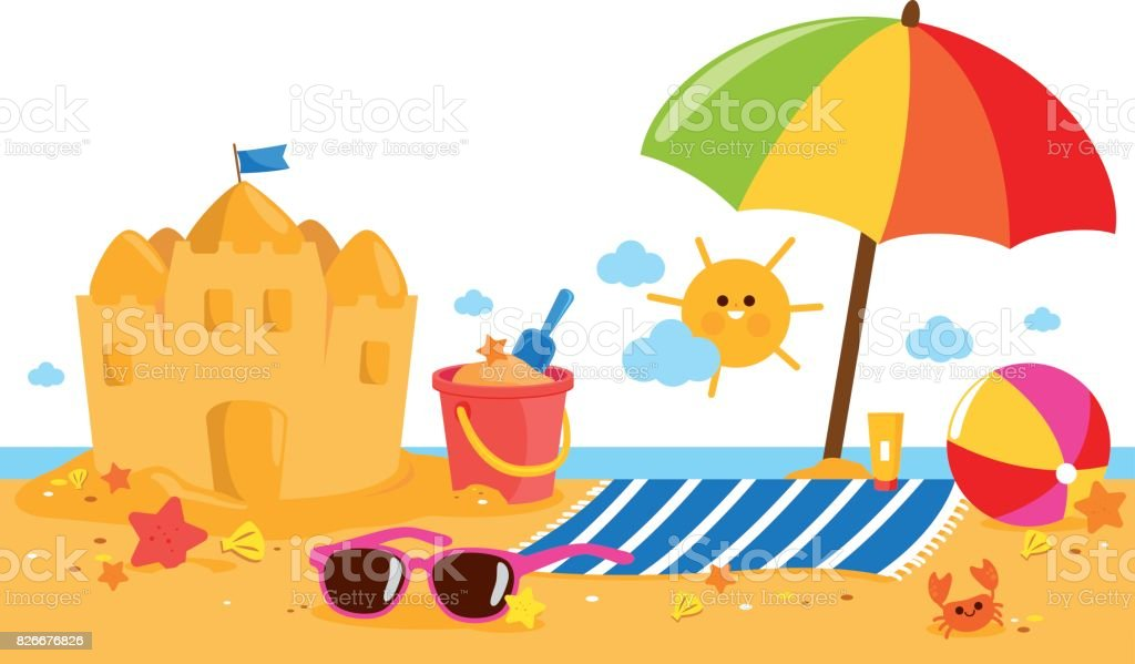 Summer vacation island banner with beach umbrella, towel, a sandcastle and other beach toys. vector art illustration