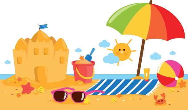 illustrations, cliparts, dessins animés et icônes de été vacances île bannière avec parasol, serviette, un château de sable et autres jouets de plage. - chateau de sable