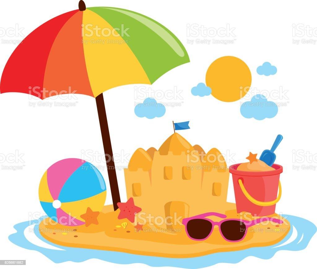 Sonnenschirm strand comic  Sommer Urlaubsinsel Mit Sonnenschirm Eine Sandburg Und Andere ...