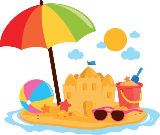 illustrations, cliparts, dessins animés et icônes de île de vacances d'été avec parasol, un château de sable et autres jouets de plage. - chateau de sable