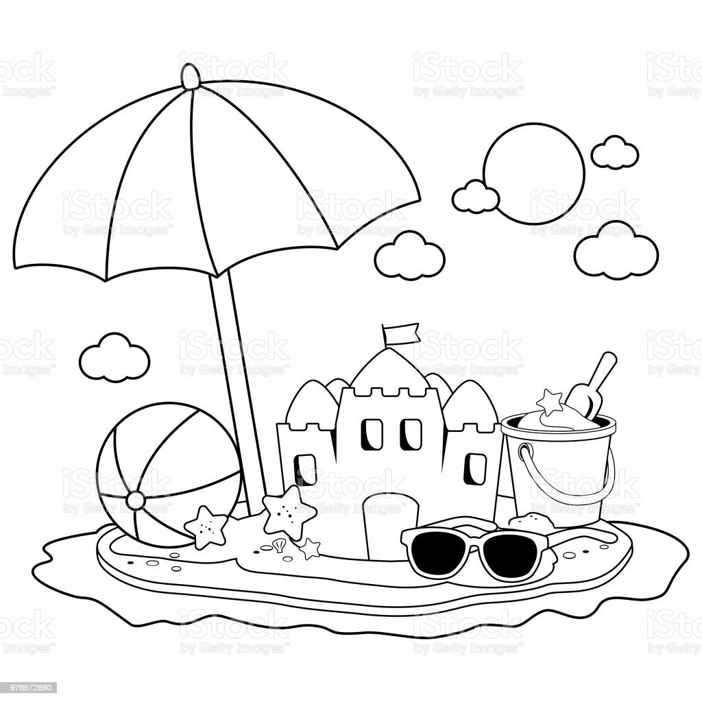 Ilustración De Isla De Vacaciones De Verano Con Sombrilla De Playa