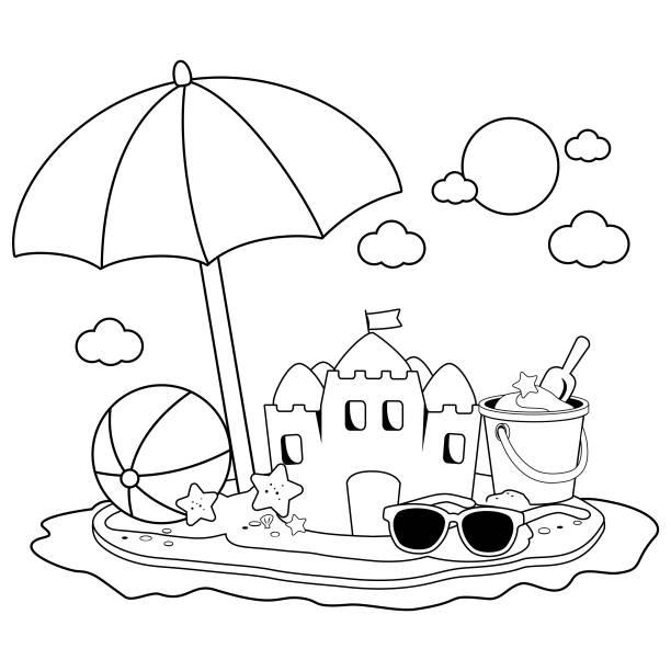 illustrations, cliparts, dessins animés et icônes de île de vacances d'été avec parasol, un château de sable et autres jouets de plage. noir et blanc, livre de coloriage - chateau de sable