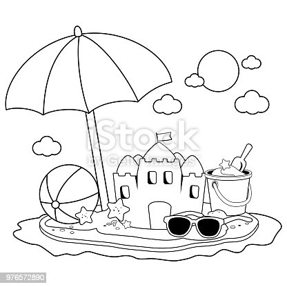 Ilustración de Isla De Vacaciones De Verano Con Sombrilla De Playa ...
