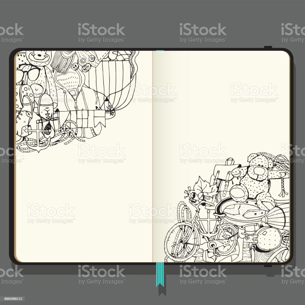 Summer Vacation Items. Adventure time concept. Hand Drawn Black and White illustration in Doodle Style. Vector Notebook with Shadows and Hand Drawn Doodles. vector art illustration