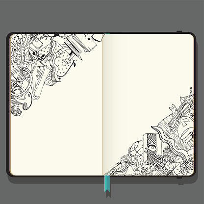 Summer Vacation Items. Adventure time concept. Hand Drawn Black and White illustration in Doodle Style. Vector Notebook with Shadows and Hand Drawn Doodles.