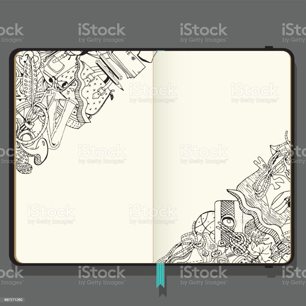 Summer Vacation Items. Adventure time concept. Hand Drawn Black and White illustration in Doodle Style. Vector Notebook with Shadows and Hand Drawn Doodles. векторная иллюстрация