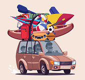 Summer vacation journey flat vector illustration. Road trip adventure. Family travelling by car with active rest equipment. Extreme sports accessories on vehicle roof top isolated on beige background