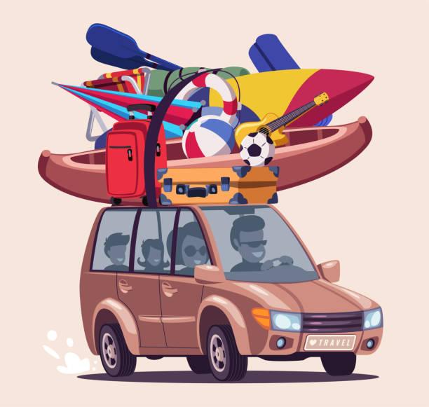 ilustraciones, imágenes clip art, dibujos animados e iconos de stock de ilustración vectorial plana del viaje de vacaciones de verano - vacaciones familiares