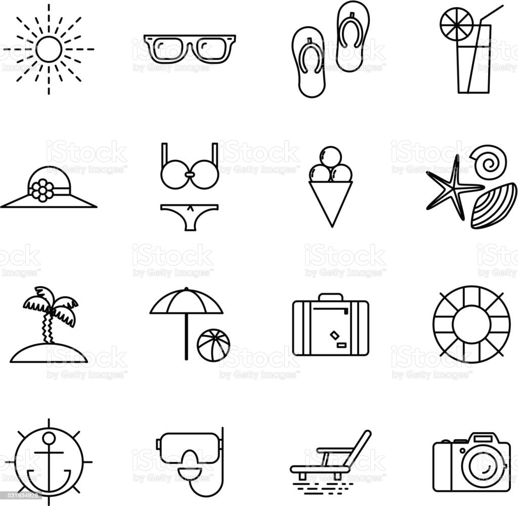 Vector Line Art Converter : Summer vacation line art beach resort accessorize vector