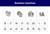 Summer vacation line icon set. Hobby, skill, water sport. Travel destination concept. Can be used for topics like journey, tourism, resting at sea