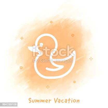istock Summer Vacation Line Icon Watercolor Background 994289108