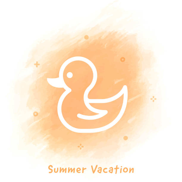 Summer Vacation Line Icon Watercolor Background Vector rubber ducky line icon over watercolor background. duckling stock illustrations