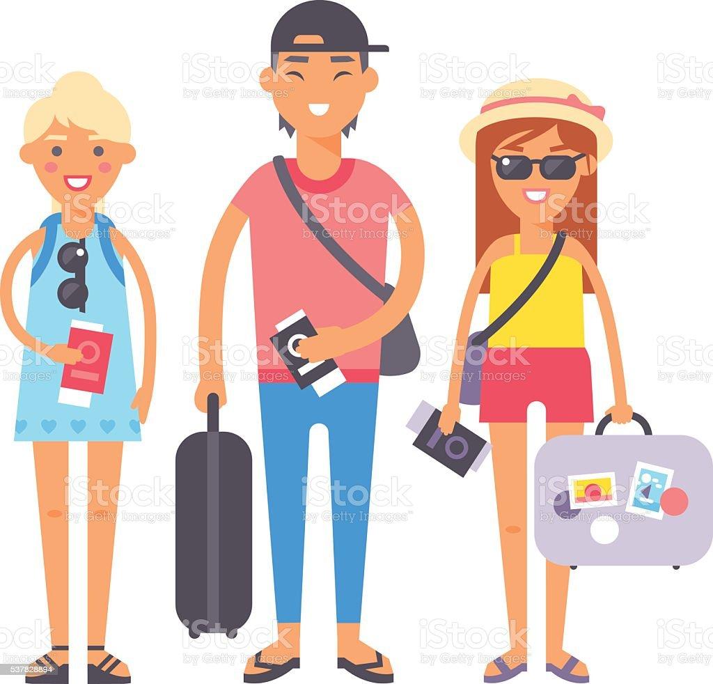 Summer vacation people illustration. vector art illustration