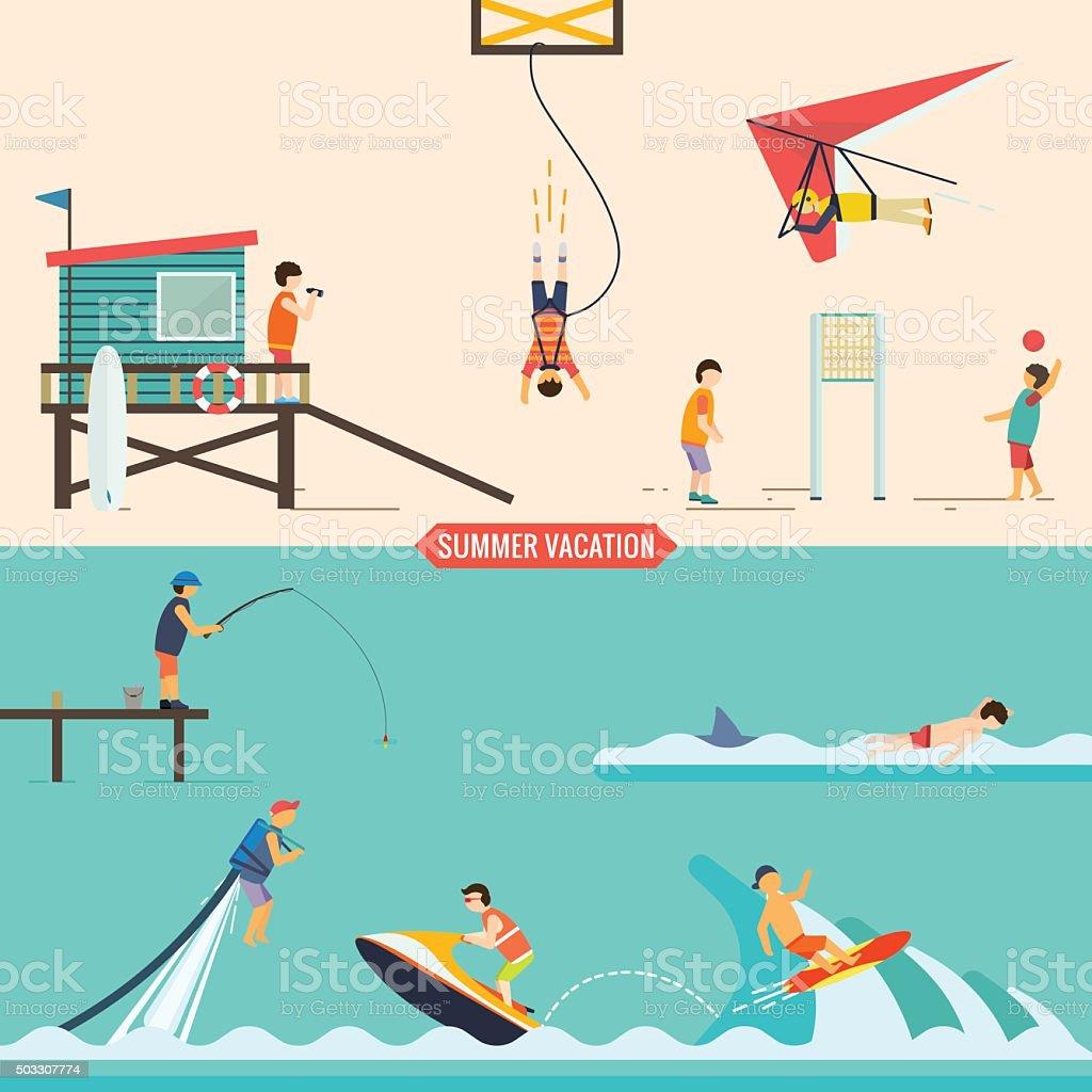Summer vacation people set vector art illustration