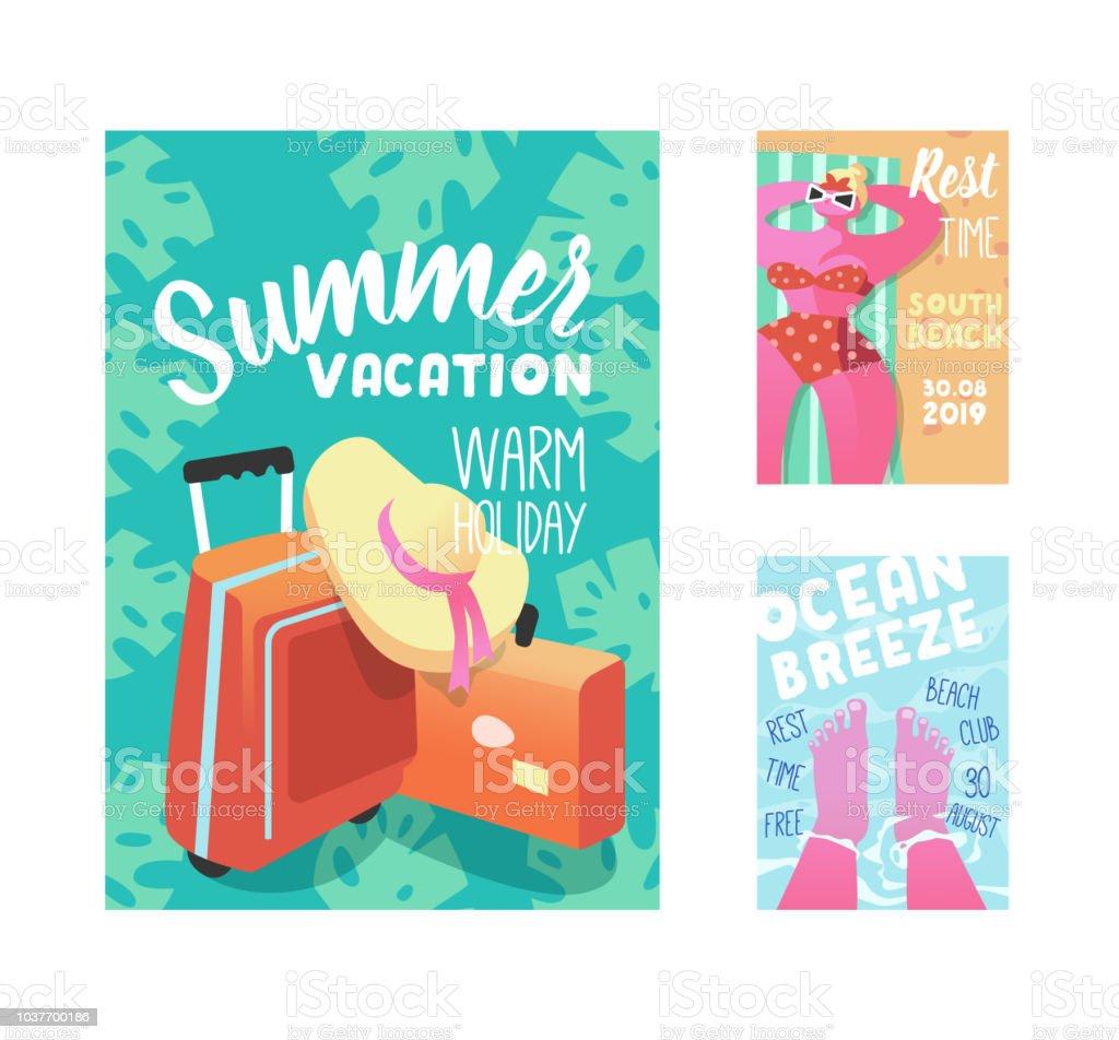 summer vacation poster flyer invitation template beach holidays