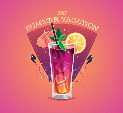 Summer vacation poster with cool drink and earphones