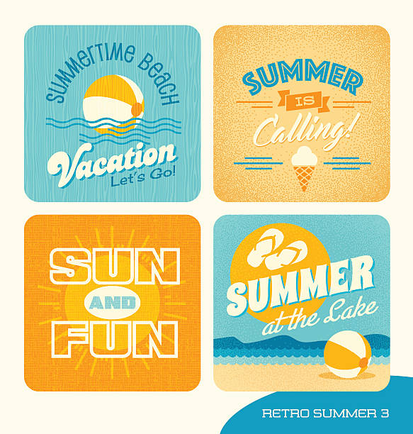 Summer vacation retro design elements for cards, banners, t-shirts vector art illustration