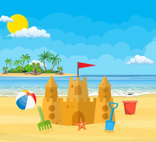 illustrations, cliparts, dessins animés et icônes de vacances d'été. château de sable, - chateau de sable