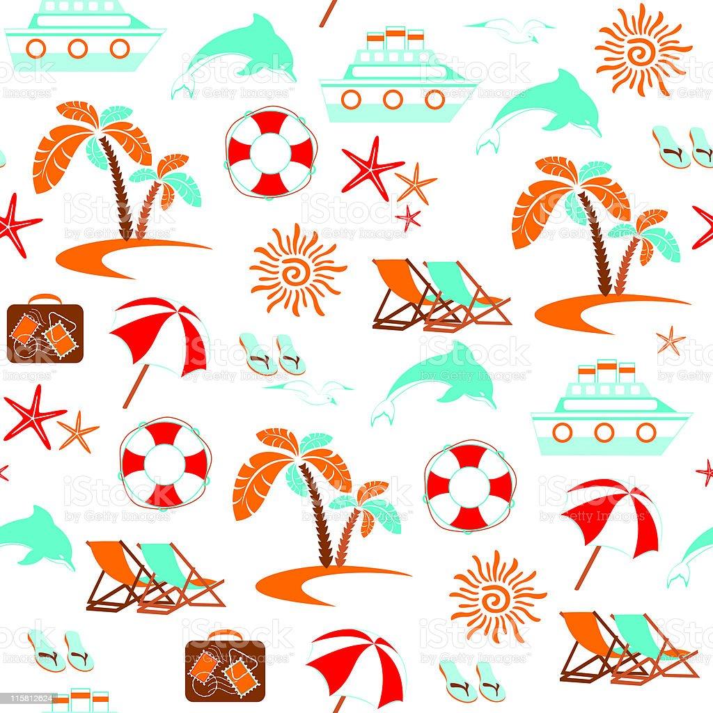 Summer vacation – seamless pattern vector art illustration