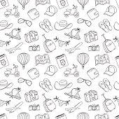 Summer vacation sketch doodle seamless pattern. Black and white