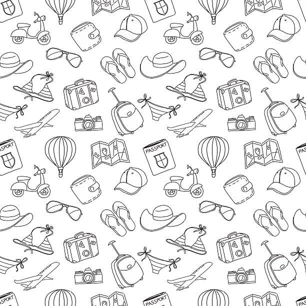 Summer vacation sketch doodle seamless pattern. Black and white Vector illustration Summer vacation sketch doodle seamless pattern. Black and white seyahat noktaları illustrationsları stock illustrations