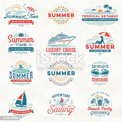 istock Summer Vacation, Surfing, Sailing, Beach Signs and Badges 473616880