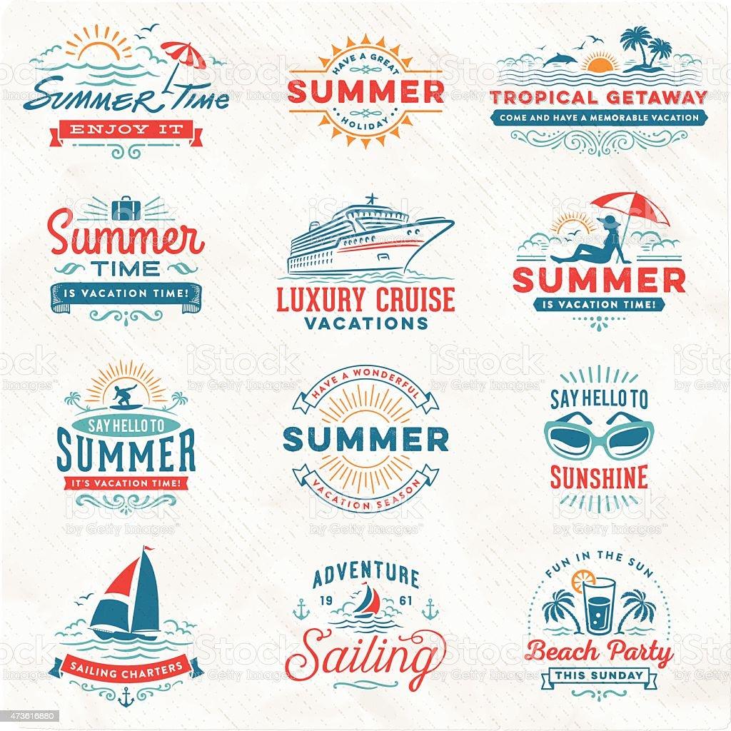 夏のバケーション、サーフィン、セーリング、ビーチの標識やバッジ ベクターアートイラスト