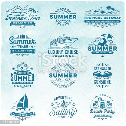istock Summer Vacation, Surfing, Sailing, Beach Signs and Badges 474104904