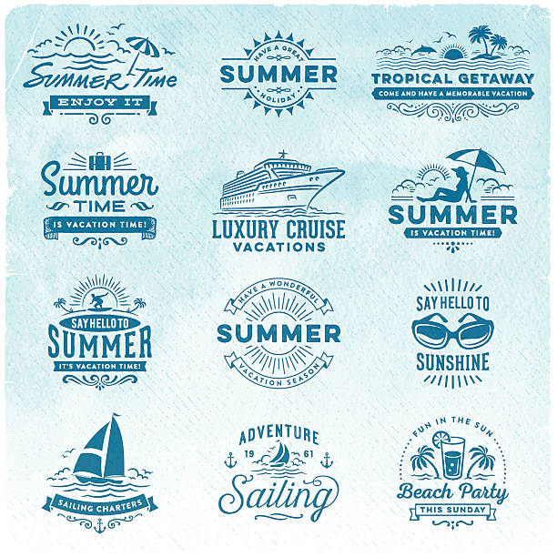Summer Vacation, Surfing, Sailing, Beach Signs and Badges vector art illustration