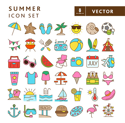 Vector illustration of a big multi-colored set of 43 for summer vacations. Includes sun umbrella, starfish, flip flops, palm tree island, sun emoji, shell, sports and recreation, bunting flags, barbecue grill, barbecue picnic utensils, portable stereo, beach ball, surf boards, carnival tent, cooler, sunglasses, watermelon slice, folding lawn chair, camera, calendar pad, baggage travel, sunscreen, t-shirt, sweet treats, picnic table, beer, bathing suit, bucket and sand shovel, sunset, pool, sailboat, refreshments, thermometer, hat, anchor, scuba diving, beach, food, inflatable, flamingo and Ferris wheel.  Simple set that includes vector eps and high resolution jpg in download.