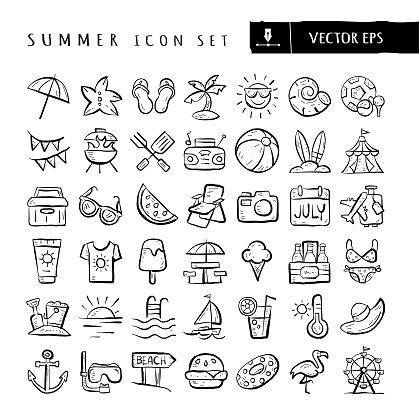Summer vacation travel sports food and elements big hand drawn Icon set - editable stroke