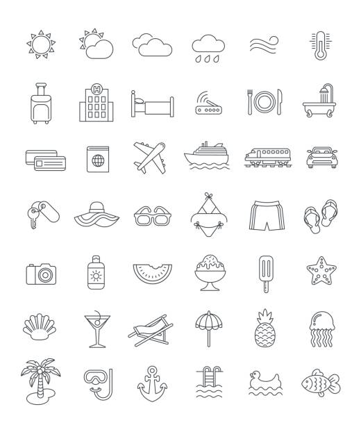 Summer vacation travel thin line vector icons Summer travel thin line icons. Vector flat linear symbols of sea vacation elements. Outline weather pictograms, transport, hotel services, water relax, tropical fruits, beach holidays, swimming suits seyahat noktaları illustrationsları stock illustrations