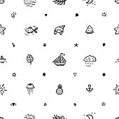 Summer Vacation Vector Background. Hand Drawn Doodle Summer Sea Various icons Seamless Pattern