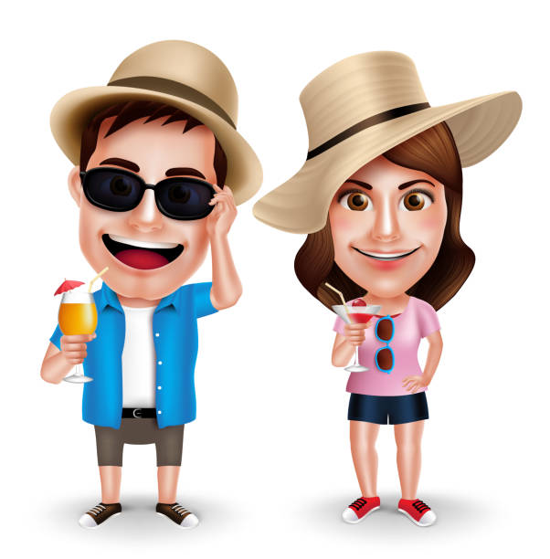 summer vacation vector characters of couples drinking juices - caricatures stock illustrations, clip art, cartoons, & icons