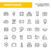 30 thin line icons associated with summer vacation with symbols such as accommodation, transportation and beach related items are included in this set. 48x48 pixel perfect vector icon with editable stroke.