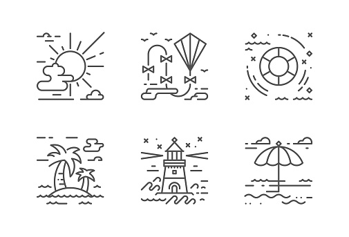 Summer vacation vector icons set. The icons are pixel perfect. You will be able to change the color and size.