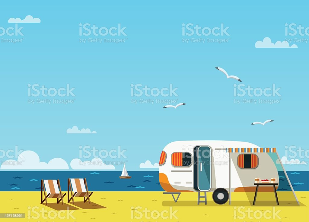 summer vacation vector art illustration