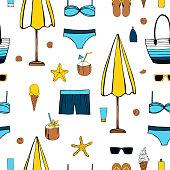 istock Summer vacation.  Vector seamless pattern 1210346155