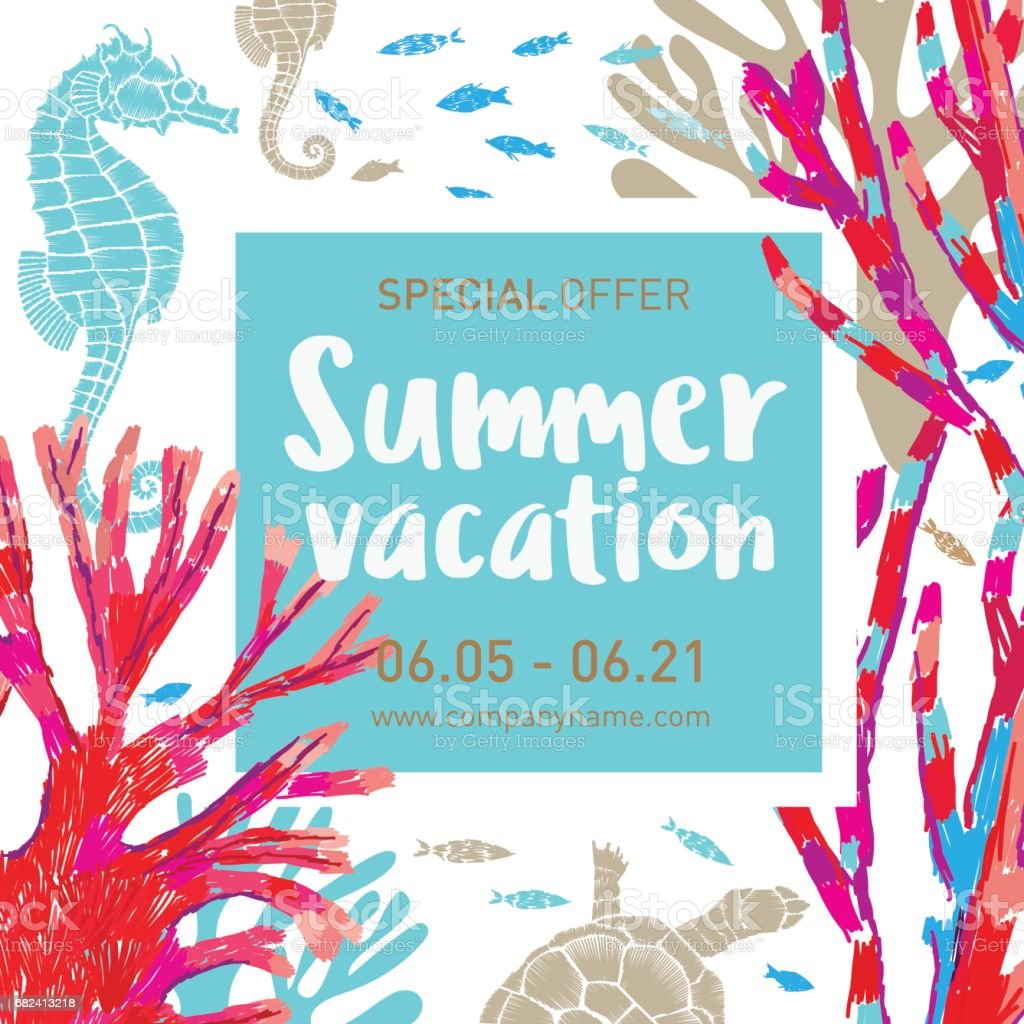 Summer vacation. Vector square background with marine elements. Undersea world. Can be used for summer sales banner, tourist offers, travel plans. royalty-free summer vacation vector square background with marine elements undersea world can be used for summer sales banner tourist offers travel plans stock vector art & more images of abstract