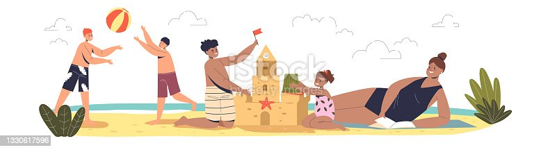 Summer vacation with kids. Children on beach playing volleyball and building sand castle together