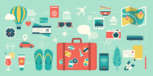 Summer vacations and international traveling: suitcase, smartphone and network of traveling icons